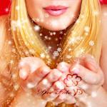 beautiful blonde woman blowing snow