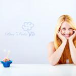 beautiful blonde woman clebrating her birthday