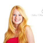 pretty smiling girl against isolated on white background